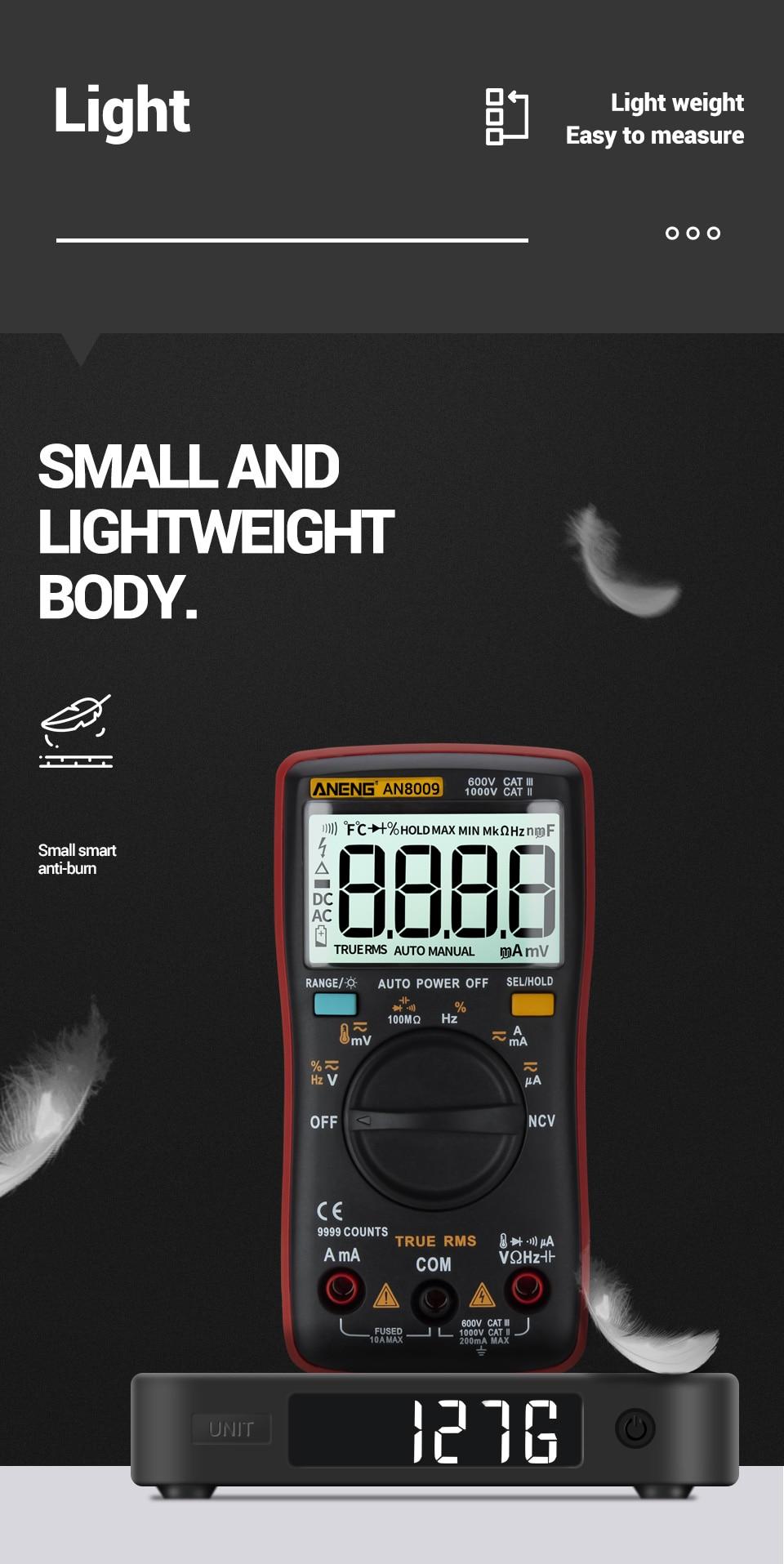 H57f056d57eec4cc0906653691e330d98F ANENG AN8009 True-RMS Digital Multimeter transistor tester capacitor tester automotive electrical capacitance meter temp diode