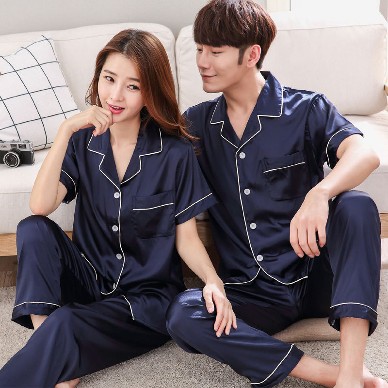 Couples Women Men Autumn Male Long Sleeve Pajamas Sets Silk Satin Sleepwear Casual Lounge Wear Lovers' Clothes Unisex Look