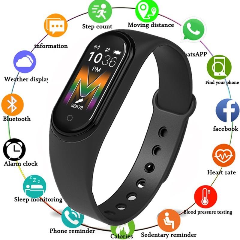 M5 m45 pulseira inteligente esportiva, fitness, relógio, smartband, monitorador de atividades esportivas, monitor cardíaco, monitor de pressão sanguínea, a prova d água