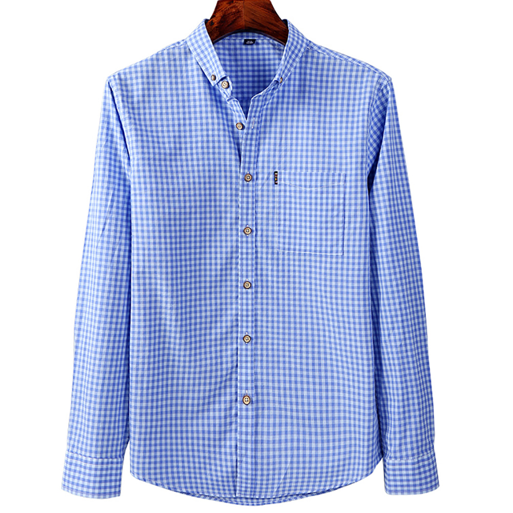 New Arrival 100% Cotton Good Quality Soft Comfortable Full Sleeve Button-down Collar Slim Fit Business Men Plaid Casual Shirts