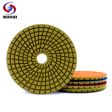 RIJILEI 5PCS 4inch Wet Diamond Polishing Pads 5 Steps Grinding Discs For Granite Stone Concrete floor Marble Polish