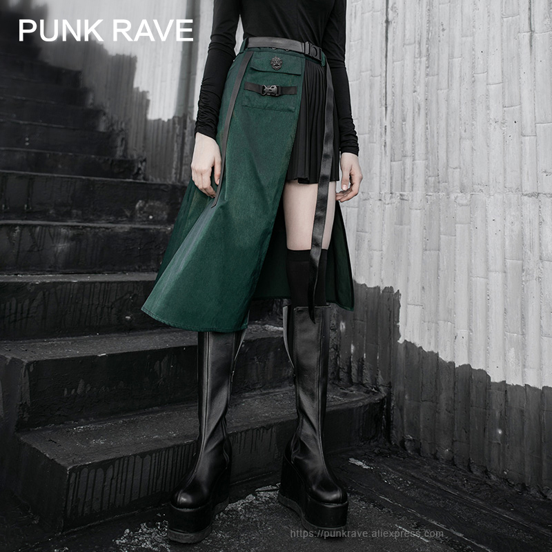 PUNK RAVE Girl's Street Trendy Pleated Black-green Irregular Stitching Skirt Punk High Waist Handsome Women Skirt