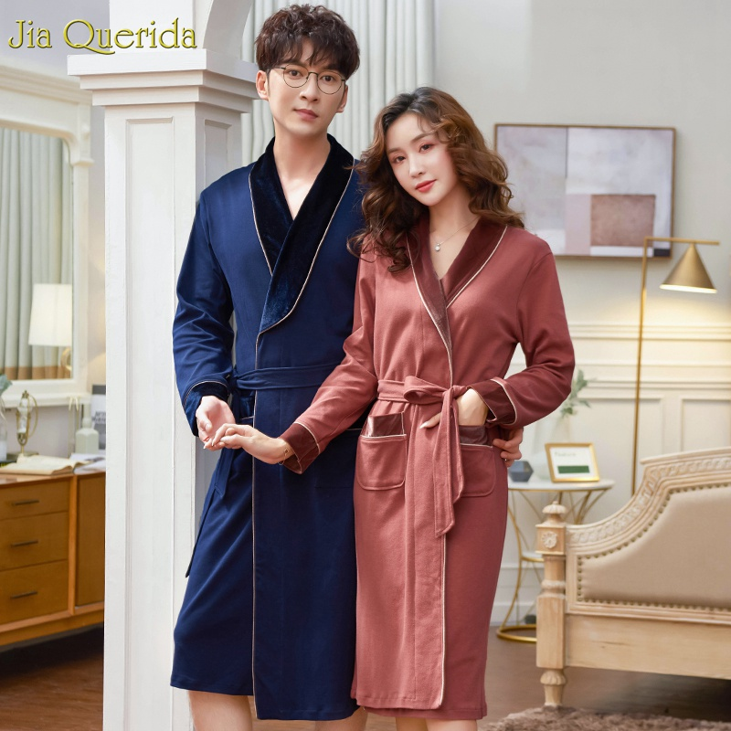 100% Cotton Men And Women Matching Bathrobe Long Sleeve Velvet Collar Cuff Japanese Kimono Men's Night Robe Luxury Couple Robe