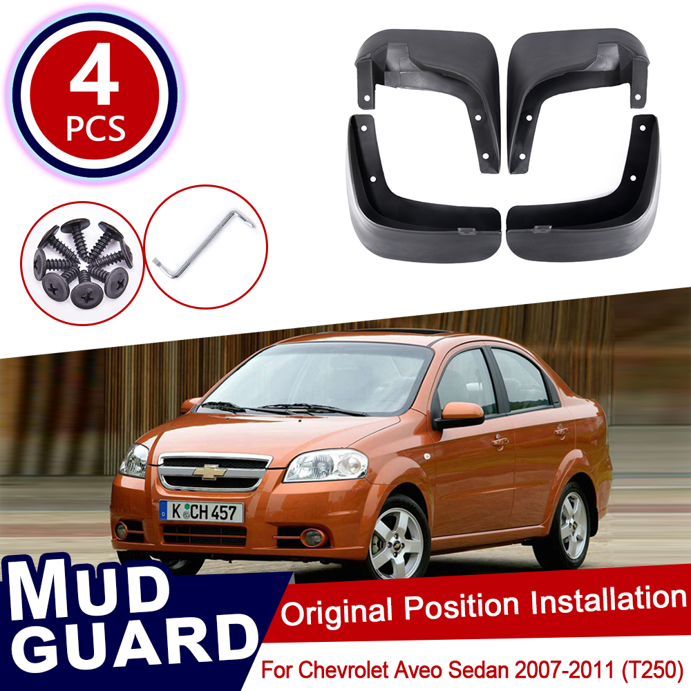 for Chevrolet <font><b>Aveo</b></font> Sedan Saloon <font><b>T250</b></font> 2007~2011 Car Mud Flaps Front Rear Mudguard Splash Guards Fender Accessories 2008 2009 2010 image