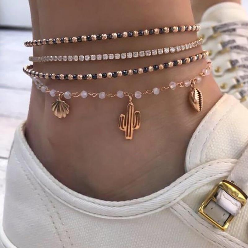 Tocona 4Pcs Bohemian Black Beads Gold Color Anklet Set Cactus Shell Woman Feet Bracelet Charm Beach Jewelry Accessories 8144
