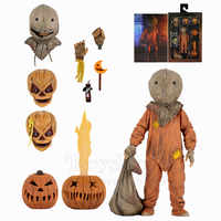 """Trick R Treat Sam 7"""" Scale Ultimate Deluxe Action Figure LED Jack O Lantern 2007 Classic Film Movie NECA Toys Collection Doll"""