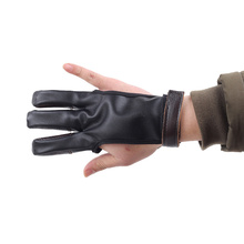 1pc Archery Three Finger Glove Cowhide Protective Glove Bow Arrow Accessory Sports Protective Cover (Clorful)