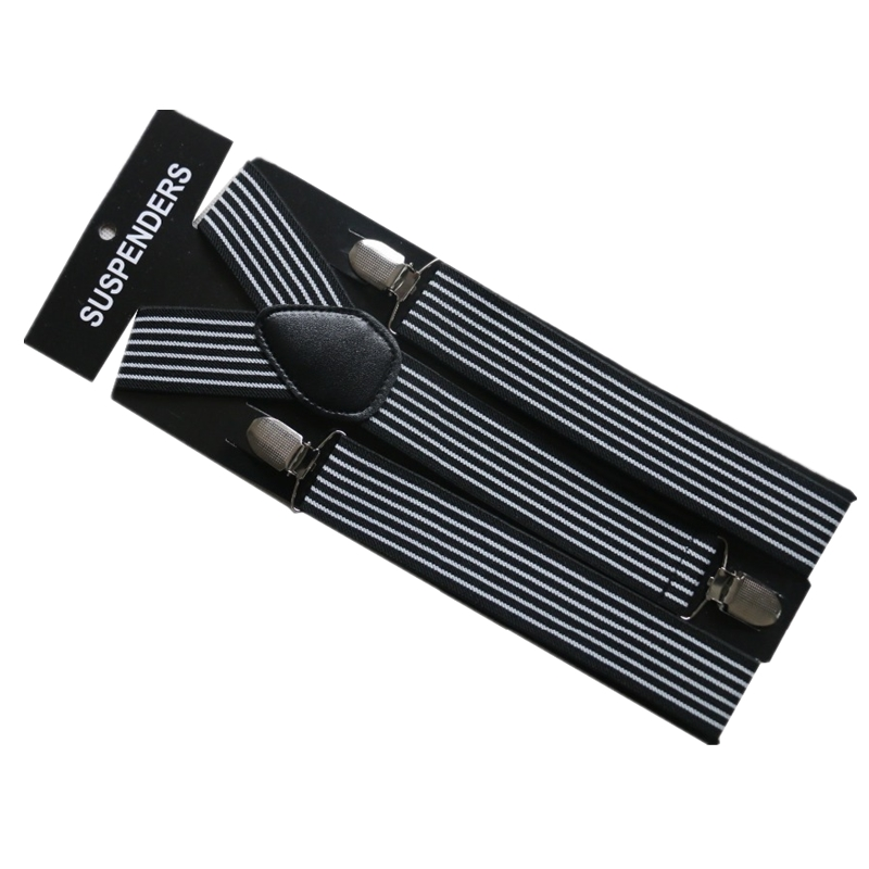 Winfox Black And White Mens Striped Suspenders Male Adjustable Suspender Braces For T-shirt Strap