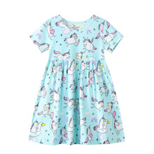 Unicorn Summer Girls Dress Kids Floral Dress Cartoon Unicorn Printed Girls Dresses Baby Princess Dress for Kids Children Clothes girls summer dresses 2018 animals appliqued girls dress unicorn printed kids dresses for girls clothing princess costume child