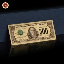 WR США поддельные деньги красочные американские Золотые банкноты 500 долларов США банкноты с пластиковой рамкой банкноты коллекционные пода...