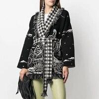 Jastie 2021 autunno inverno donna Cardigan giacca Boho nappa risvolto Graffiti Jacquard giacca di Cashmere maglione lavorato a maglia capispalla