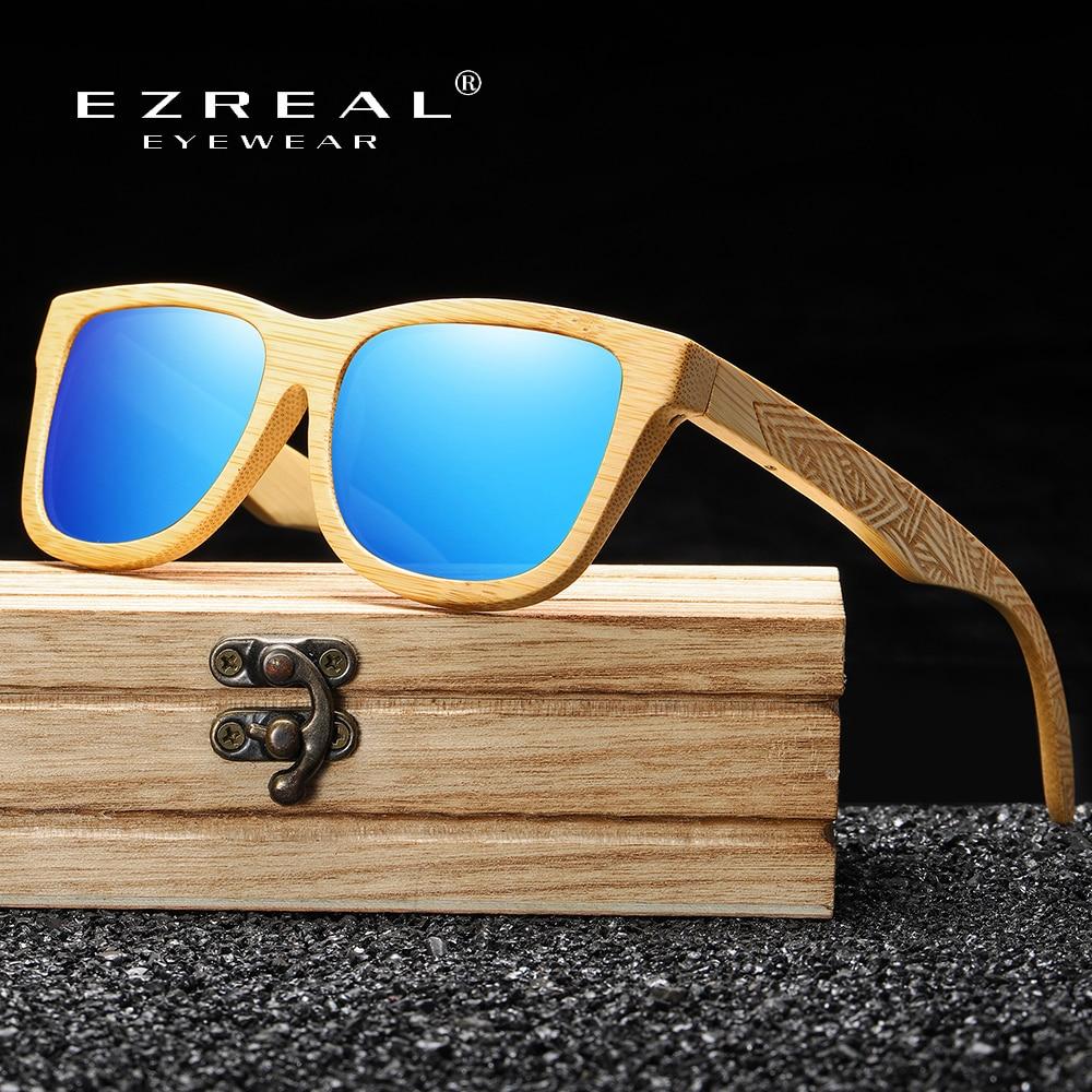 Ezreal design da marca artesanal de madeira natural bambu óculos de sol de luxo polarizados de madeira óculos sol masculino