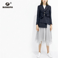 ROHOPO Pear Buttons Gradient Breast Navy Blue Solid Blazer Notched Collar Ladies Bogue Party Runways Outwear #6162