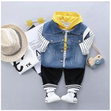 2019 Autumn Toddler Boys Clothes Suits Child Baby Clothing Set Vest Hooded Striped T Shirt Pants Sets Infant Kids Costume Suit shein toddler frill top with ruffle striped pants set casual child teenage girls clothing 2019 korean fashion suit kids clothes