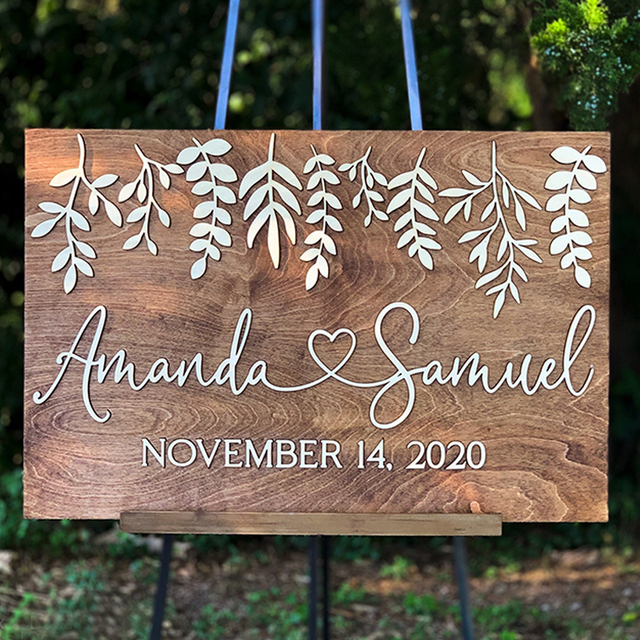 3d Wedding Welcome Sign Laser Cut Welcome Wedding Sign Personalised Rustic Wedding Decor Elegant Unique Wedding Board No Stand Party Direction Signs Aliexpress