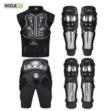 WOSAWE 6PCS Full Body Protect Armor Snowboarding Skating Jacket + Shorts Elbow Knee Protector Motocross Motorcycle Jacket Set