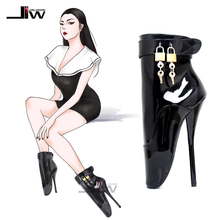 7 Spike Black High Heel lockable BALLET  Ankle Boots Fetish high heel boots Free shipping BY DHL