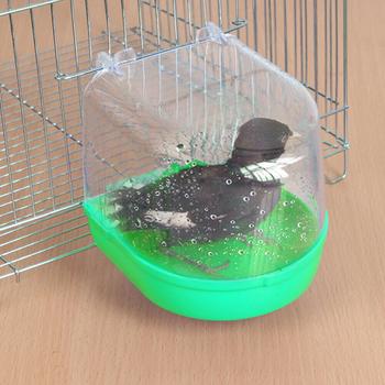 Papuga oczko wodne wanna papuga kąpiel dostarcza ptak wanna z tworzywa sztucznego klatka artykuły dla zwierząt oczko wodne prysznic stojący na zewnątrz przestrzeń tanie i dobre opinie Ptak Kąpiele CN (pochodzenie) 72A3919