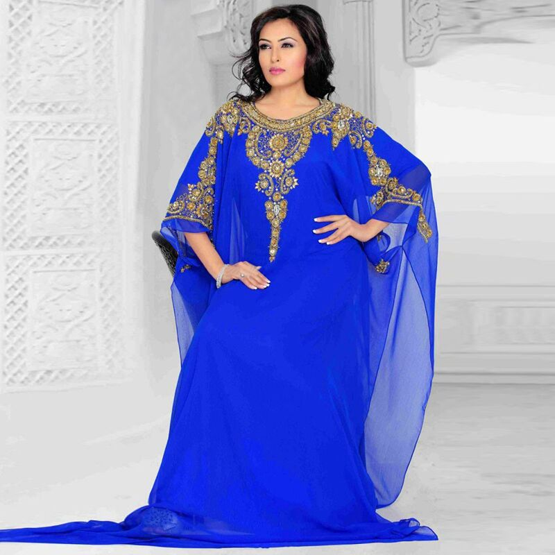 Wonderful Royal Arabic Dubai Moroccan Kaftan Abayas Robe De Soiree Women Royal Blue Evening Gown Mother Of The Bride Dresses