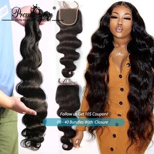 Missanna волнистые пряди с закрытием бразильские волосы плетение человеческие волосы пряди с закрытием 30 дюймов с 4x4 шнуровкой