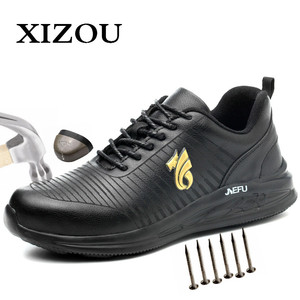 XIZOU Work Shoes with Steel Toe Safety Men Office Boots Indestructible Anti Smashing Puncture Proof Work Boots for Men