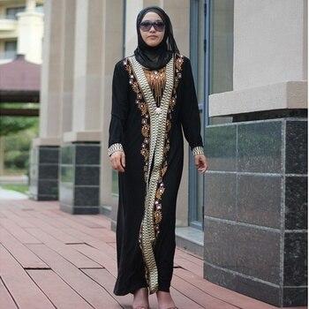 Dubai Arab Islam Abaya Women Muslim Long Dress Sequin Beading Kaftan Robes Elegant Splice Maxi