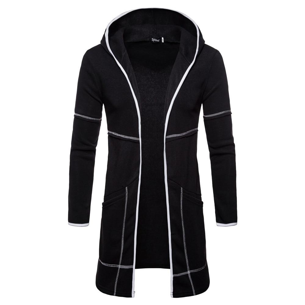 Осенняя новинка, европейский и американский стиль, чистый цвет, мужской кардиган с длинным рукавом, Длинная толстовка с капюшоном, модное Спортивное повседневное пальто - Цвет: black