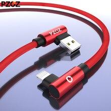 PZOZ Usb кабель 90 градусов для iphone зарядное устройство Шнур быстрой зарядки для iphone xs max 8 7 6s 6 s plus 5S 5 se кабель короткий провод