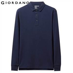Image 2 - Giordano Men Polo Shirt Men Thick Solid Long Sleeve Polo Men Shirt Winter Warm Slim Soft Cotton Fabric 01019779
