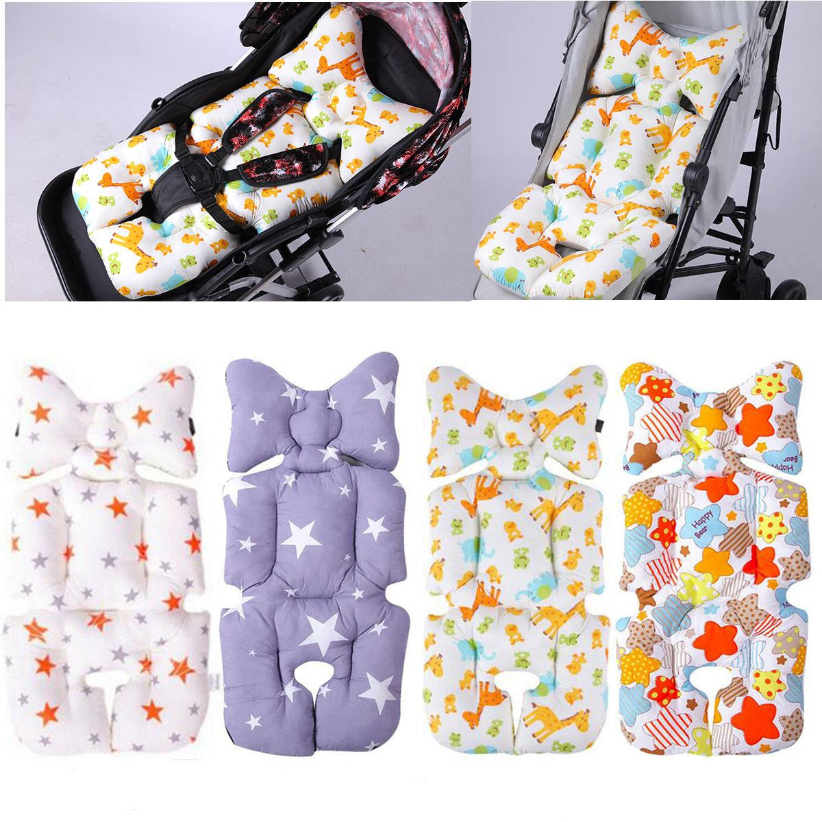 Baby Stroller Cotton Cushion Seat Cover Mat Breathable Soft Car Pad Pushchair Accessories Liner Cartoon Star Mattress Baby Cart