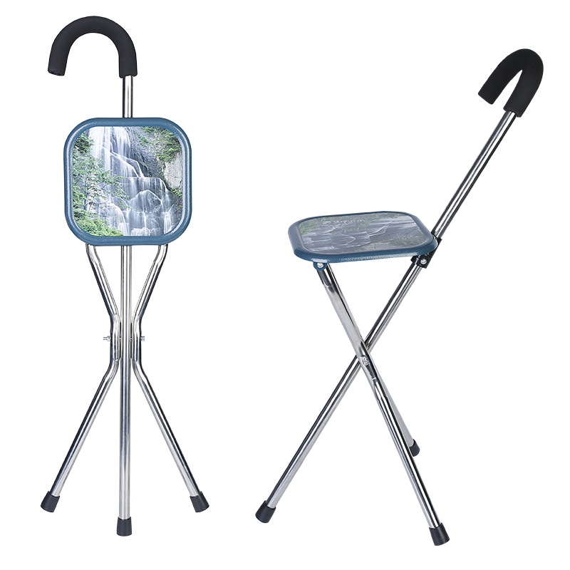 Stainless Steel Elderly Folding Cane Old Man Tripod Crutch Stool Walking Stick Shou Zhang Deng Crutch Chair