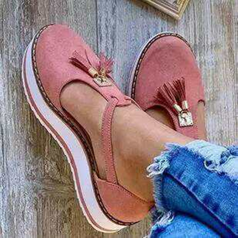 Women Summer Sandals Fashion Buckle Strap Solid Fringe Cover Heel Flat Platform Heel Casual Ladies Plus Sandals Women's Shoes