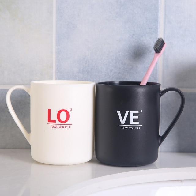 2019 Household Bathroom Essential Large Capacity Plastic Tea Mug Brushing Toothbrush Alphabet LOVE Sweet Couple Washing New Cups