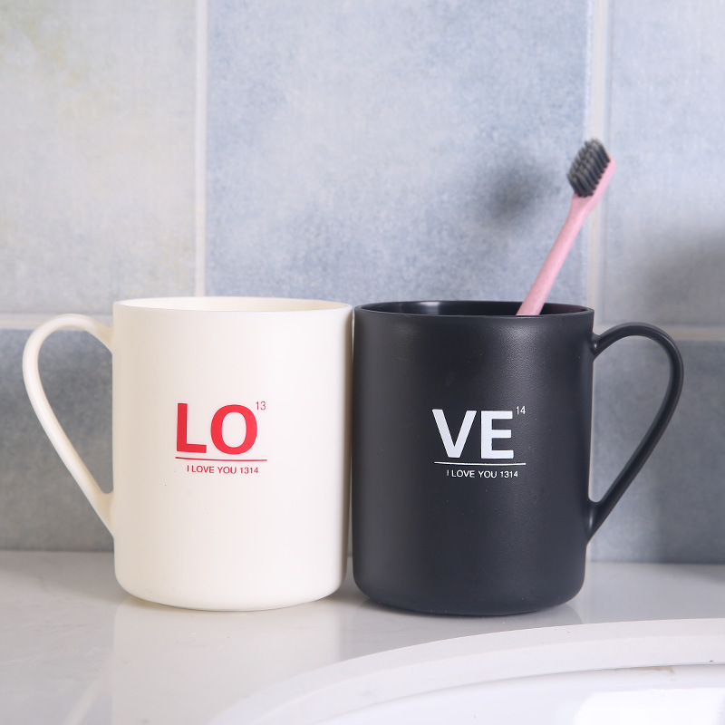 2019 Household Bathroom Essential Large Capacity Plastic Tea Mug Brushing Toothbrush Alphabet LOVE Sweet Couple Washing New Cups image