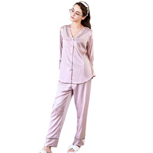 Silk Homewear Women Long Sleeve Pajamas Two Piece Suit Women Pajama Sets Sleepwear Home Clothes Set pajama sets frutto rosso for girls tk117g044 sleepwear kids home suit children clothes