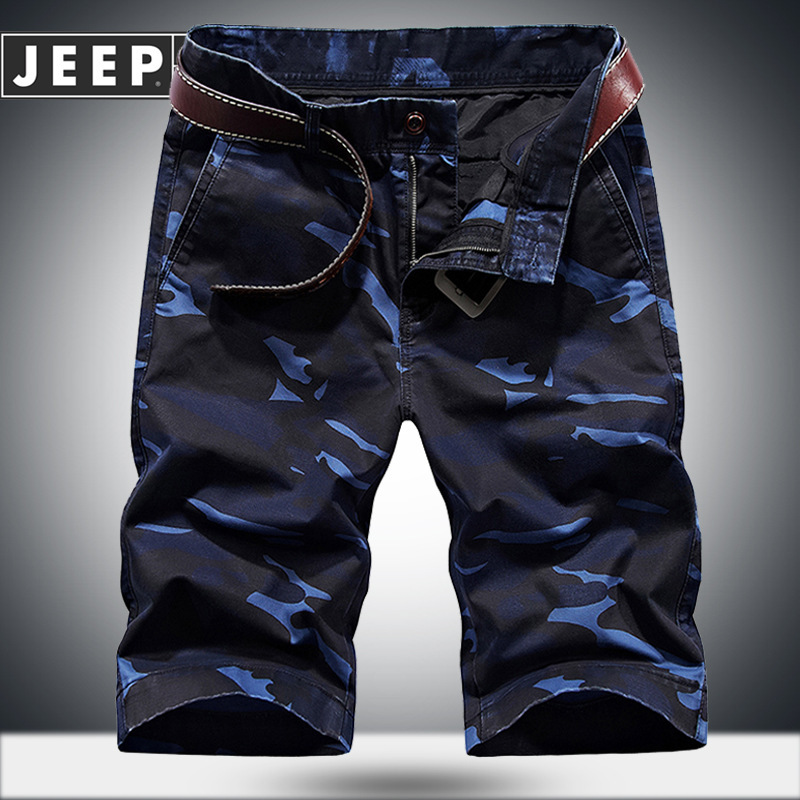 JEEP SPIRIT Camouflage Short Men Military Cotton Breathable Mens Shorts Summer Mid-waist Knee Length Short Homme Plus Size 30-44