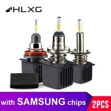 HLXG Автомоболильные Светодиодные Фары Головного Света на Матрице Samsung H4 LED H7 4 стороны по 3 диода 9005 HB3 ЛЕД Лампа H11 H8 H1 Ближний Свет Дальний Противотуманные Фары Яркость 10000Лм 6500К Холодный Белый 12В