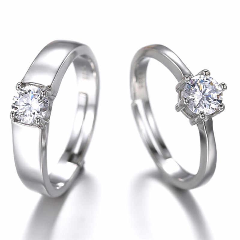 Kryształowy regulowany zestaw pierścieni dla damska biżuteria Sliver obrączki dla par obietnica ślubna pierścień dla kobiet mężczyzn pierścionek zaręczynowy
