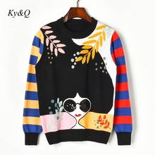 2019 Brands NEW Long Striped Sleeve Embroidery Leaves Beaded Sequins Sunglasses