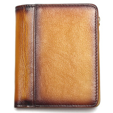 Dip Dye RFID Blocking Men's Imported Top Layer Leather Brushed Wallet Handmade Retro Wallet Pure Leather Leather Coin Purse