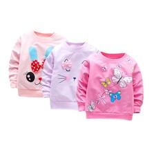 3 шт./лот, футболка для маленьких девочек топы с длинными рукавами для маленьких девочек, хлопковая Повседневная Весенняя футболка футболки для малышей, одежда для девочек на первый день рождения