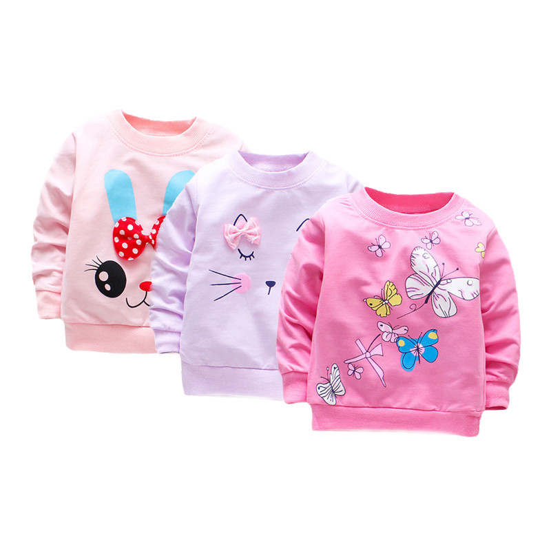 3Pieces/lot Baby Girl T shirt Long Sleeve Baby Girls Tops Cotton Casual Spring t-shirt Infant Tees First Birthday Girl Clothes