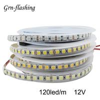 Tira de luces LED de 120LED/m, 2m, 3m, 5m, SMD 5050, 12V de CC, cinta de luz LED roja, amarilla, blanca cálida, RGB, para decoración del hogar