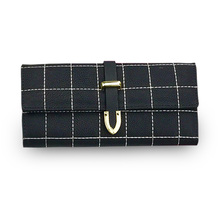 Wallets Clutch Bags Women Female Wristlets Coin Purse Money Card Holder Solid phone PU Leather Buckle grid long Wallets Fashion