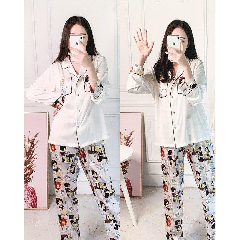 Summer Women's Pajamas Sets Cartoon Print Fashion Luxury Female Faux Silk Two Pieces Shirts + Pants Nighties Sleepwear