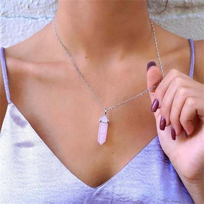 Naturalny kamień vintage Bullet kryształowy naszyjnik dla kobiet biżuteria prosty i stylowy biały różowy kryształ obojczyka Ncecklace