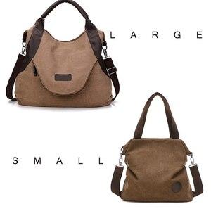 Image 2 - Jiulin ブランド大ポケットカジュアル女性のハンドバッグのショルダーバッグハンドバッグキャンバスレザー容量のバッグ女性