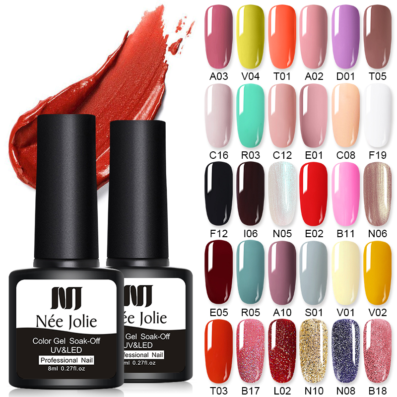 NEE JOLIE Glitter Rose Red UV Gel Nail Polish Set Soak Off Varnish Varnish Glitter Nail Art LED Gel Polish Nail Designs 8ml