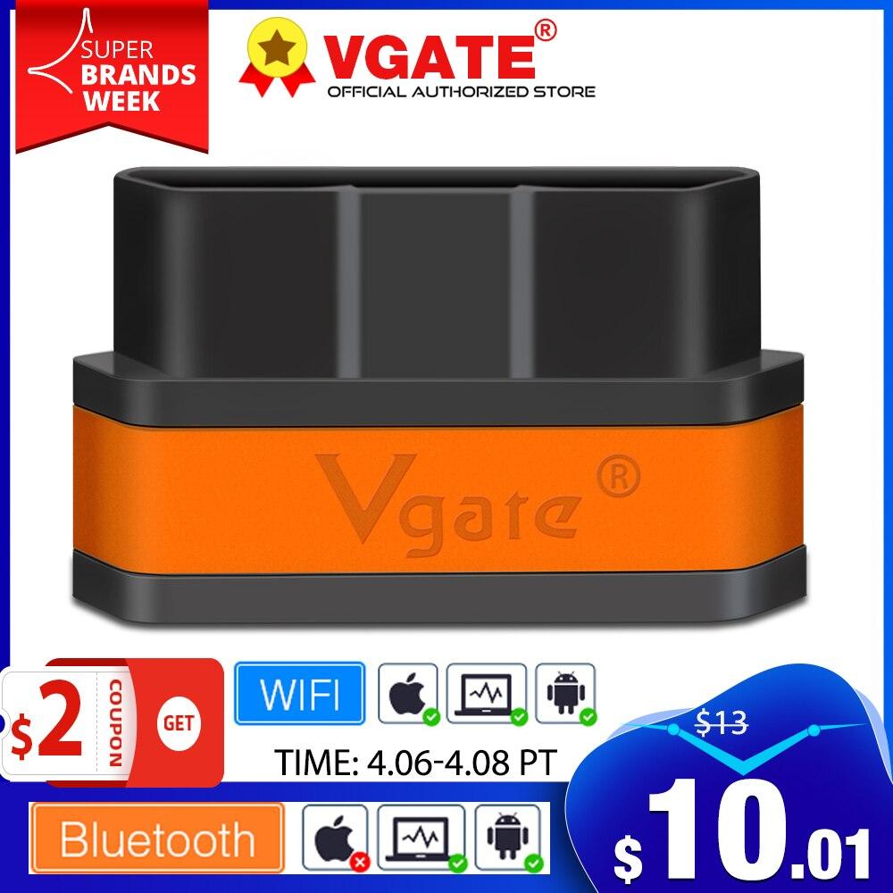Автомобильный диагностический сканер Vgate iCar2 ELM327 obd 2, Bluetooth-сканер elm 327 V2.1 obd2 wifi для android/ПК/IOS, считыватель кодов pk kw902