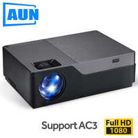 Proyector AUN Full HD, cine en casa de 300 pulgadas, proyector LED 1920x1080 P. Apoyo AC3. ¡5500 lúmenes! (Opcional Android WIFI M18UP)